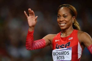 US' Sanya Richards-Ross waves before competing in the women's 200m final at the athletics event of the London 2012 Olympic Games on August 8, 2012 in London. AFP PHOTO / FRANCK FIFEFRANCK FIFE/AFP/GettyImages
